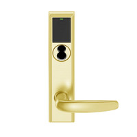 LEMB-ADD-J-07-605 Schlage Privacy/Office Wireless Addison Mortise Lock with Push Button, LED and Athens Lever Prepped for FSIC in Bright Brass