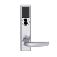 LEMB-ADD-J-07-626AM Schlage Privacy/Office Wireless Addison Mortise Lock with Push Button, LED and Athens Lever Prepped for FSIC in Satin Chrome Antimicrobial