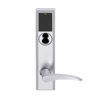 LEMB-ADD-J-12-626AM-RH Schlage Privacy/Office Wireless Addison Mortise Lock with Push Button, LED and 12 Lever Prepped for FSIC in Satin Chrome Antimicrobial
