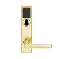 LEMB-ADD-J-18-605 Schlage Privacy/Office Wireless Addison Mortise Lock with Push Button, LED and 18 Lever Prepped for FSIC in Bright Brass