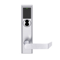 LEMS-ADD-BD-06-626AM Schlage Storeroom Wireless Addison Mortise Lock with LED and Rhodes Lever Prepped for SFIC in Satin Chrome Antimicrobial