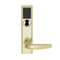 LEMB-ADD-BD-07-606 Schlage Privacy/Office Wireless Addison Mortise Lock with Push Button, LED and Athens Lever Prepped for SFIC in Satin Brass