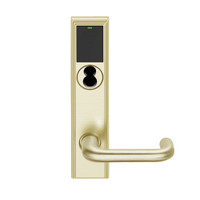 LEMB-ADD-BD-03-606 Schlage Privacy/Office Wireless Addison Mortise Lock with Push Button, LED and Tubular Lever Prepped for SFIC in Satin Brass