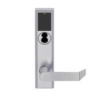 LEMB-ADD-BD-06-626 Schlage Privacy/Office Wireless Addison Mortise Lock with Push Button, LED and Rhodes Lever Prepped for SFIC in Satin Chrome
