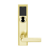 LEMB-ADD-BD-01-605 Schlage Privacy/Office Wireless Addison Mortise Lock with Push Button, LED and 01 Lever Prepped for SFIC in Bright Brass