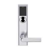 LEMB-ADD-BD-01-626AM Schlage Privacy/Office Wireless Addison Mortise Lock with Push Button, LED and 01 Lever Prepped for SFIC in Satin Chrome Antimicrobial