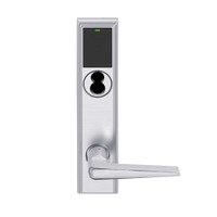 LEMB-ADD-BD-05-626AM Schlage Privacy/Office Wireless Addison Mortise Lock with Push Button, LED and 05 Lever Prepped for SFIC in Satin Chrome Antimicrobial