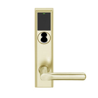 LEMB-ADD-BD-18-606 Schlage Privacy/Office Wireless Addison Mortise Lock with Push Button, LED and 18 Lever Prepped for SFIC in Satin Brass