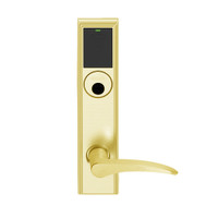 LEMD-ADD-L-12-605-LH Schlage Less Mortise Cylinder Privacy/Apartment Wireless Addison Mortise Deadbolt Lock with LED and 12 Lever in Bright Brass