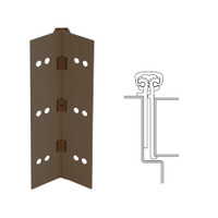 114XY-313AN-120-SECWDHM IVES Full Mortise Continuous Geared Hinges with Security Screws - Hex Pin Drive in Dark Bronze Anodized