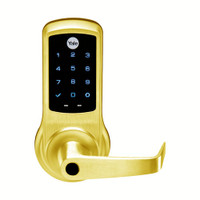 AU-NTB620-NR-605-LC Yale NexTouch Capacitive Touchscreen Access Lock Less Cylinder with Augusta Lever in Bright Brass