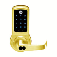 AU-NTB620-NR-605-1210-LC Yale NexTouch Capacitive Touchscreen Access Lock Yale LFIC Less Core with Augusta Lever in Bright Brass