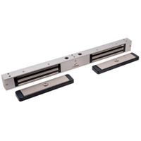 2522-US28-DSM2 DynaLock 2500 Series 650 LB Mini-Mag Double Electromagnetic Lock for Outswing Door with Door Status Switch in Satin Aluminum