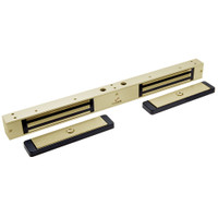 2522-US4-DSM2 DynaLock 2500 Series 650 LB Mini-Mag Double Electromagnetic Lock for Outswing Door with Door Status Switch in Satin Brass