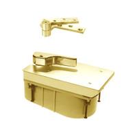 QT27-90N-LTP-LH-605 Rixson 27 Series Heavy Duty Quick Install Offset Hung Floor Closer in Bright Brass Finish