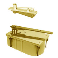 28-105S-554-LH-605 Rixson 28 Series Heavy Duty Single Acting Center Hung Floor Closer with Concealed Arm in Bright Brass Finish