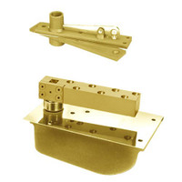 H28-90N-587-LFP-LH-605 Rixson 28 Series Extra Heavy Duty Single Acting Center Hung Concealed Floor Closer in Bright Brass Finish