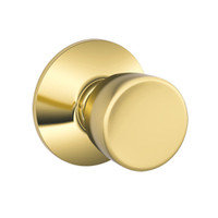 F10-BEL-605 Schlage F Series - Knob Bell Style with Passage Lock Function in Bright Brass