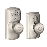 FE595-CAM-619-GEO Schlage Electrical Keypad Deadbolt Lock in Satin Nickel