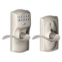 FE595-CAM-619-ACC Schlage Electrical Keypad Deadbolt Lock in Satin Nickel