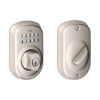 BE365-PLY-619 Schlage Electrical Keypad Deadbolt Lock in Satin Nickel
