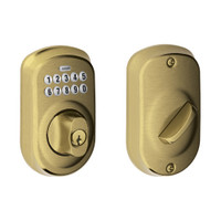 BE365-PLY-609 Schlage Electrical Keypad Deadbolt Lock in Antique Brass