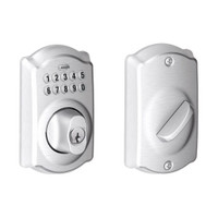 BE365-CAM-626 Schlage Electrical Keypad Deadbolt Lock in Satin Chrome
