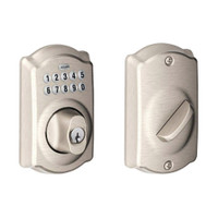 BE365-CAM-619 Schlage Electrical Keypad Deadbolt Lock in Satin Nickel