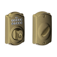 BE365-CAM-609 Schlage Electrical Keypad Deadbolt Lock in Antique Brass