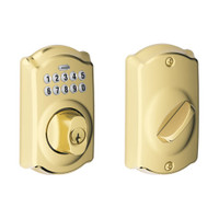 BE365-CAM-505 Schlage Electrical Keypad Deadbolt Lock in Ultima Bright Brass