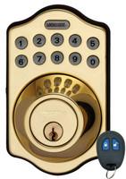 LS-DB500R-PB Lockstate Keyless Deadbolt with Remote in Polished Brass