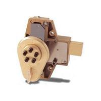 9100000-04-41 Simplex Deadbolt Push Button Lock with Key Override in Satin Brass finish