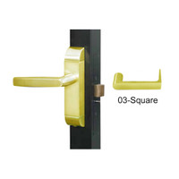 4600-03-552-US3 Adams Rite Heavy Duty Square Deadlatch Handles in Bright Brass Finish