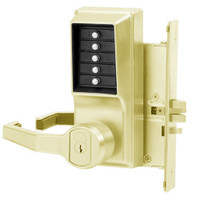 Simplex Pushbutton Lock in Bright Brass Finish
