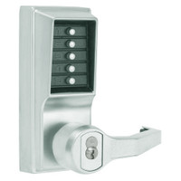 LR1021M-026-41 Simplex Pushbutton Lever Lock with Medeco Core Override in Bright Chrome