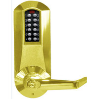 E5210XKWL-605-41 Eplex Pushbutton Exit Trim Lever Lock with Kaba 90 Keyway in Bright Brass