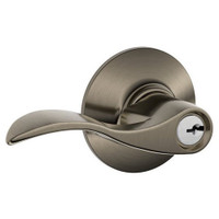 F51A-ACC-620 Schlage F Series - Accent Lever style with Keyed Entrance Lock Function in Antique Pewter