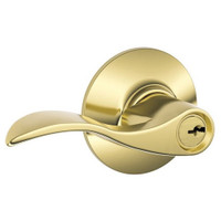 F80-ACC-RH-605 Schlage F Series - Accent Lever style with Storeroom Lock Function in Bright Brass