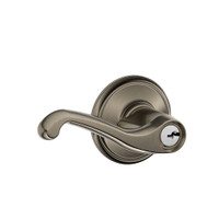 F51A-FLA-620 Schlage F Series - Flair Lever style with Keyed Entrance Lock Function in Antique Pewter