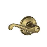 F80-FLA-LH-609 Schlage F Series - Flair Lever style with Storeroom Lock Function in Antique Brass