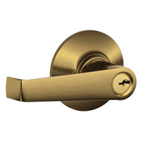 F51A-ELA-609 Schlage F Series - Elan Lever style with Keyed Entrance Lock Function in Antique Brass