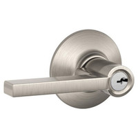 F51A-LAT-619 Schlage F Series - Latitude Lever style with Keyed Entrance Lock Function in Satin Nickel