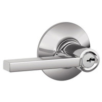 F51A-LAT-625 Schlage F Series - Latitude Lever style with Keyed Entrance Lock Function in Bright Chrome