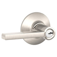 F80-LAT-618 Schlage F Series - Latitude Lever style with Storeroom Lock Function in Polished Nickel