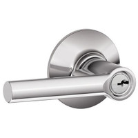 F51A-BRW-625 Schlage F Series - Broadway Lever style with Keyed Entrance Lock Function in Bright Chrome