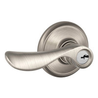 F80-CHP-LH-619 Schlage F Series - Champagne Lever style with Storeroom Lock Function in Satin Nickel