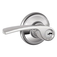 F51A-MER-625 Schlage F Series - Merano Lever style with Keyed Entrance Lock Function in Bright Chrome
