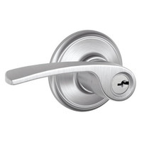 F51A-MER-626 Schlage F Series - Merano Lever style with Keyed Entrance Lock Function in Satin Chrome