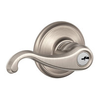 F51A-CLT-619 Schlage F Series - Callington Lever style with Keyed Entrance Lock Function in Satin Nickel