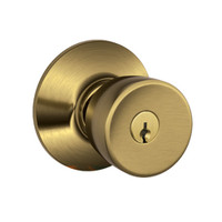 F51A-BEL-609 Schlage F Series - Knob Bell Style with Keyed Entrance Lock Function in Antique Brass